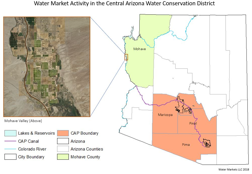 Water Markets - Arizona Map including CAWCD Boundary and Mohave Valley